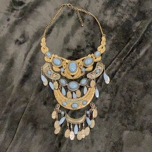 Layered Necklace with Faux Stones